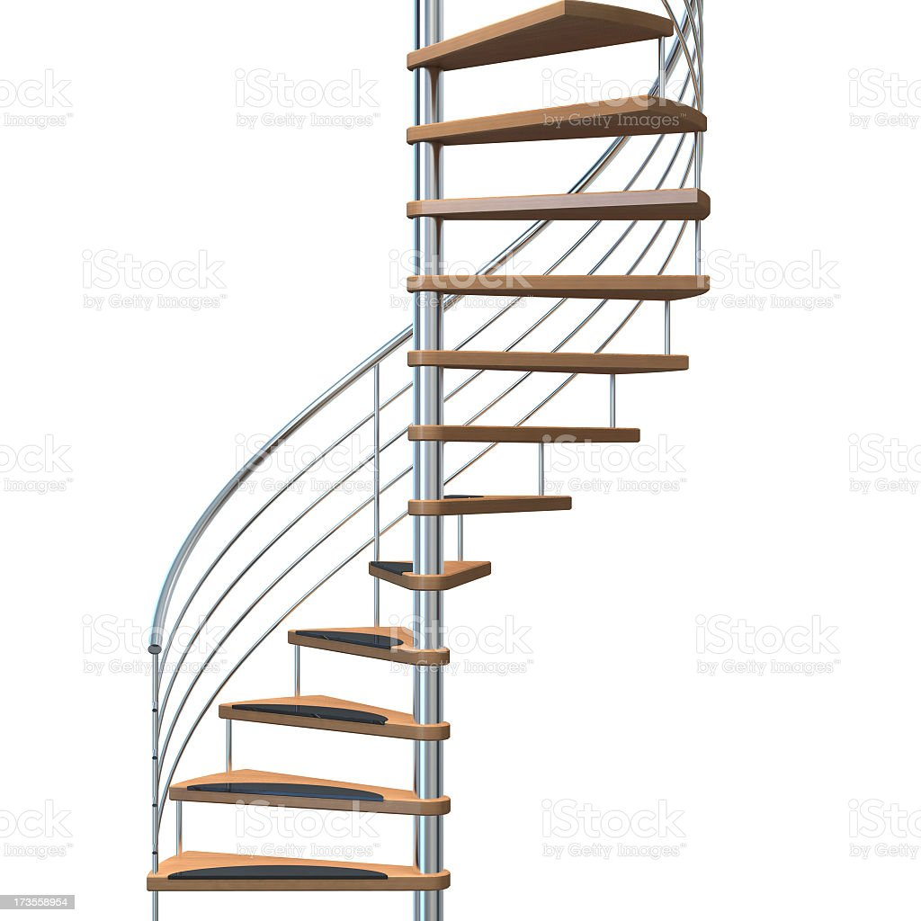 Metallic and wooden stairway over a white background royalty-free stock photo