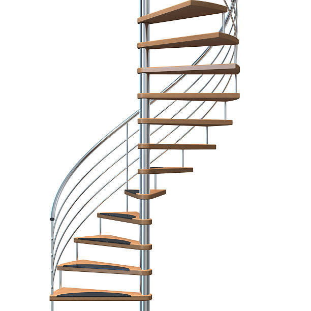 Metallic and wooden stairway over a white background stock photo