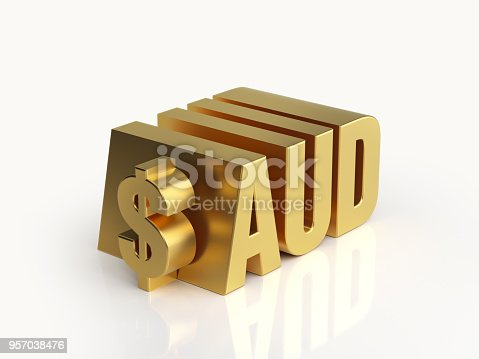 Metallic Australian dollar symbol with AUD code on white background. Horizontal composition with copy space. Clipping path is included.