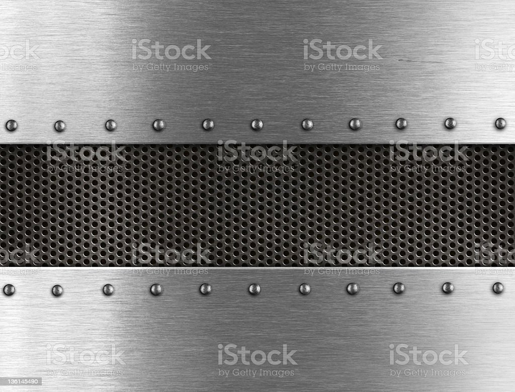 Metallic background with rivets stock photo