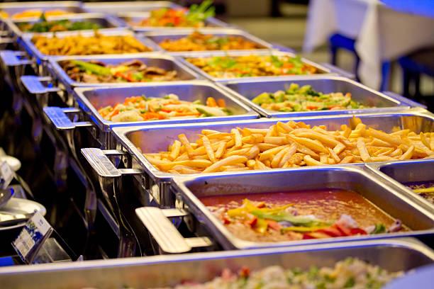 Metallic Banquet Buffet Meal Trays stock photo