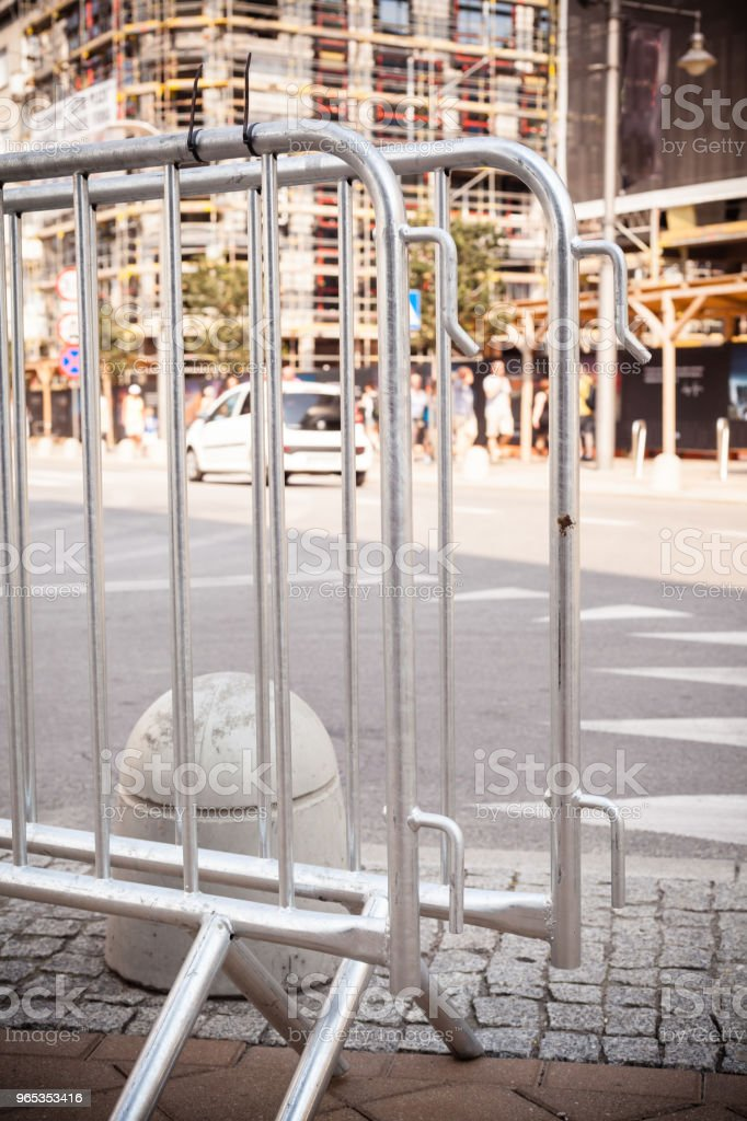 metallic barrier on the street royalty-free stock photo