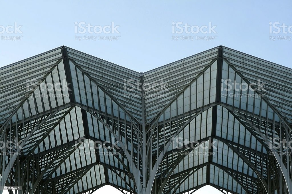Metallic building structure made in steel and glass royalty-free stock photo