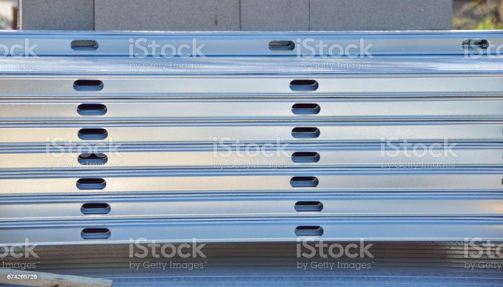 metallic cable trays stock photo