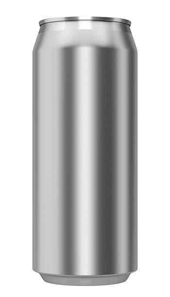 metallic can from front stock photo