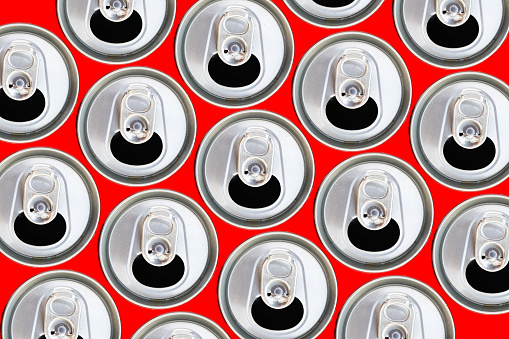 istock Metallic cans top view. 911278440