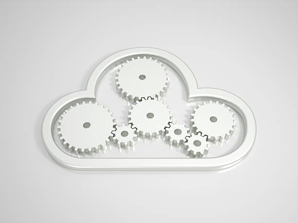 Metallic-Cloud Computing-Symbol auf leuchtenden Hintergrund – Foto