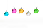 Metallic colorful christmas ball Ornaments hanging on white background 3d rendering. 3d illustration minimal style christmas concept.