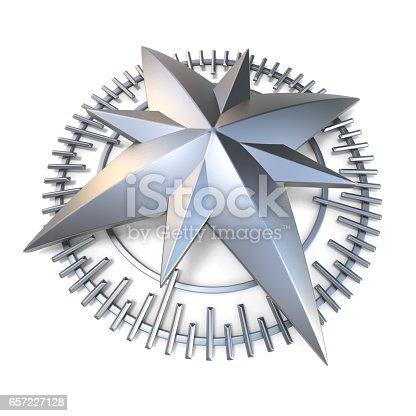 1149464558 istock photo Metallic compass rose 3D 657227128