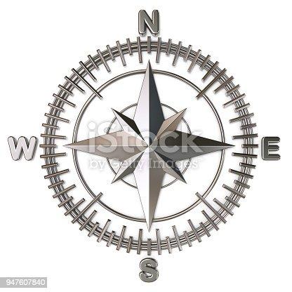 1149464558 istock photo Metallic compass rose 3D 947607840