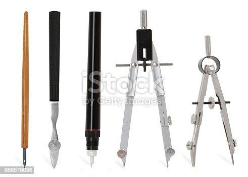 istock metallic compass tools 686578096