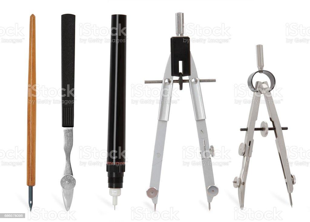 metallic compass tools stock photo