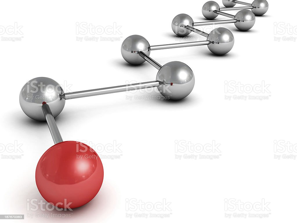 metallic concept sphere network with red leader ball stock photo