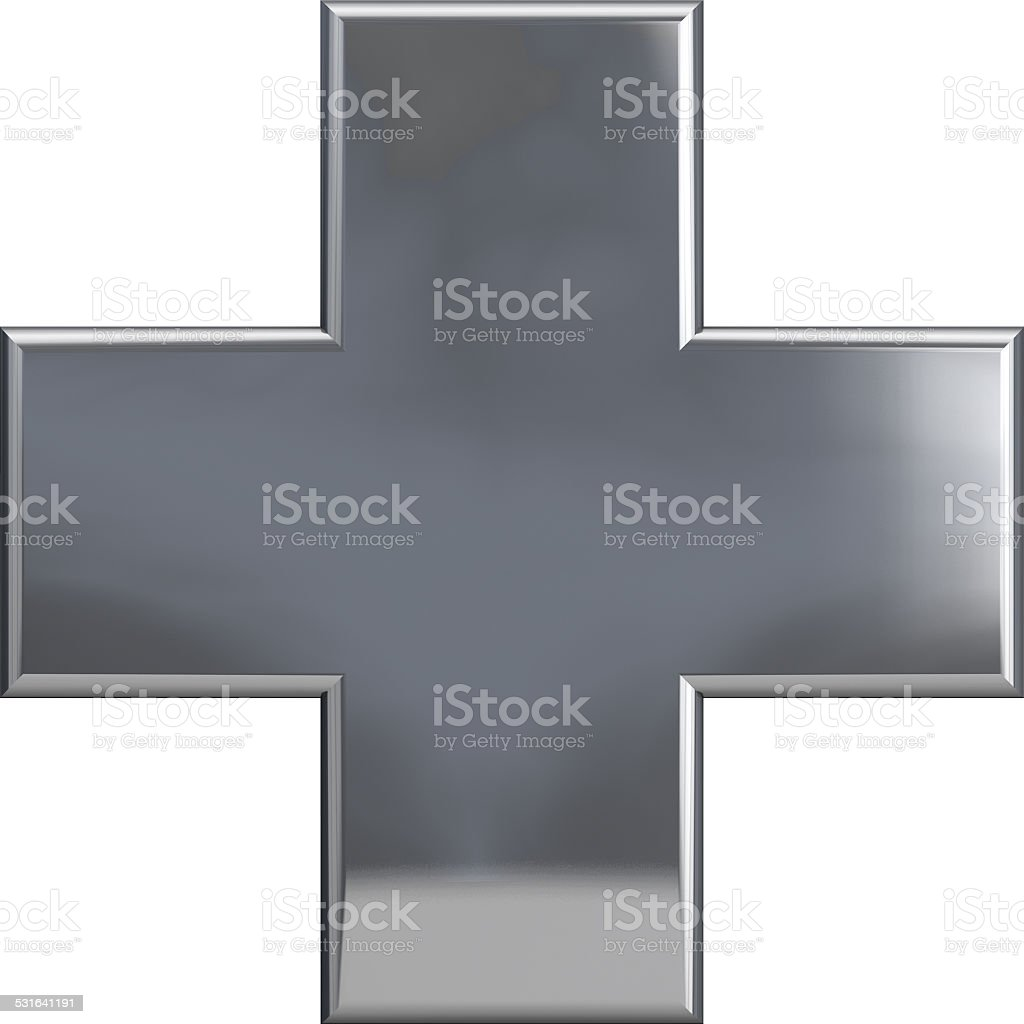 Metallic Cross Plus Symbol stock photo