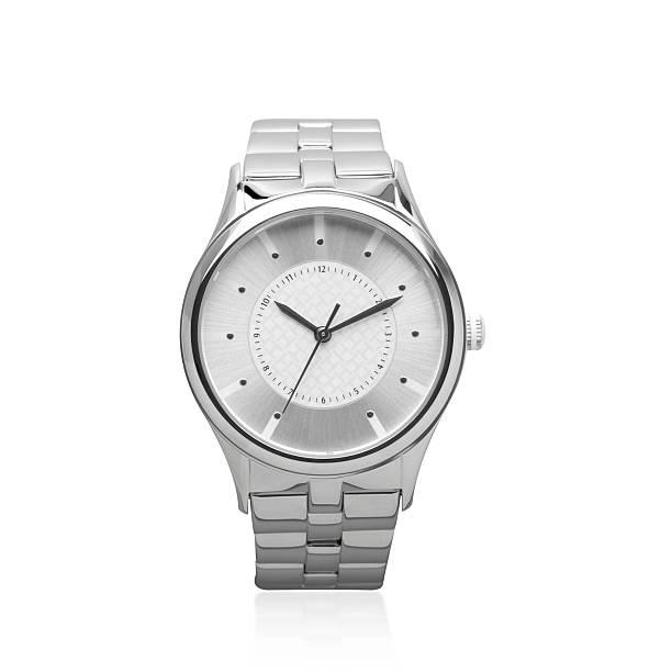 Metallic design men's wristwatch isolated stock photo
