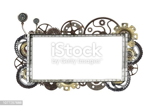 Metallic frame with vintage machine gears and cogwheel. Isolated on white background. Mock up template. Copy space for text. Can be used for steampunk and mechanical design