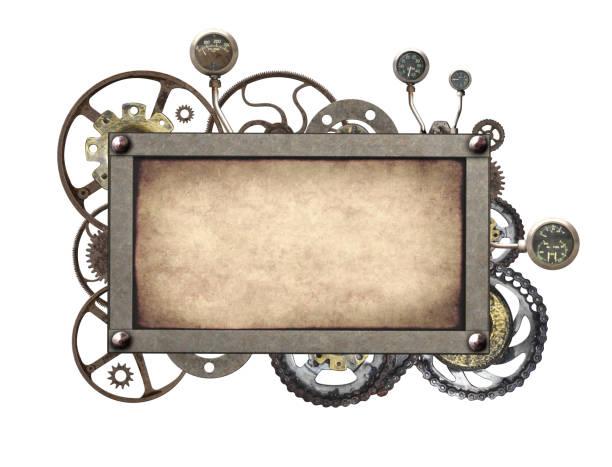 metalen frame met vintage machine versnellingen en tandrad - steampunk stockfoto's en -beelden