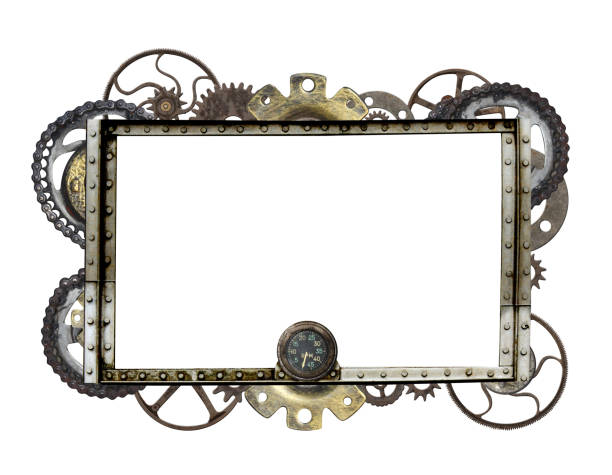 metallic frame with vintage machine gears and cogwheel - steampunk stock photos and pictures