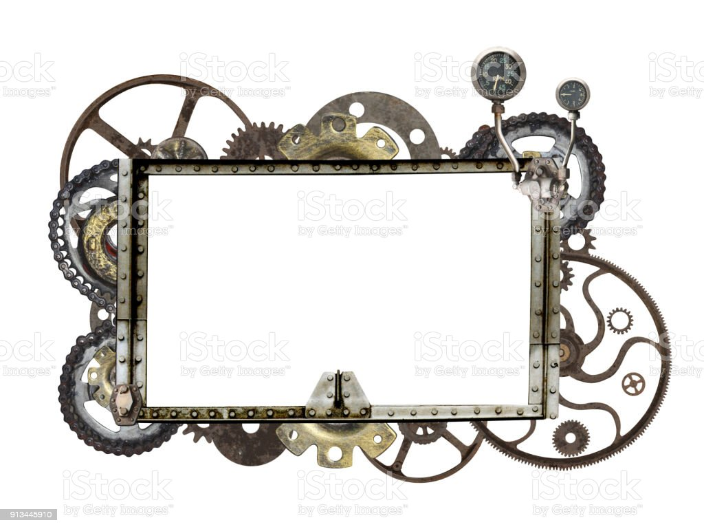 Metallic frame with vintage machine gears and cogwheel stock photo