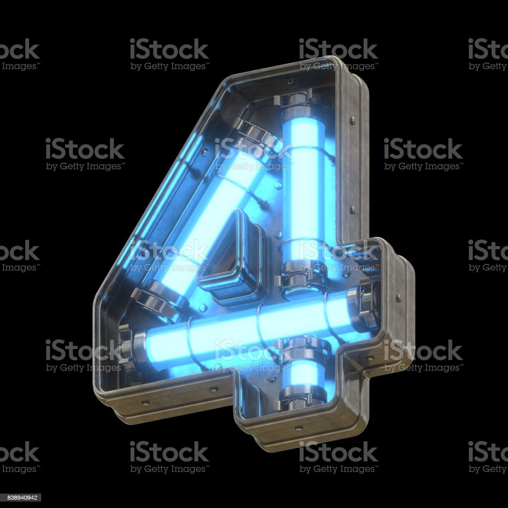 Metallic futuristic font with blue neon lights stock photo