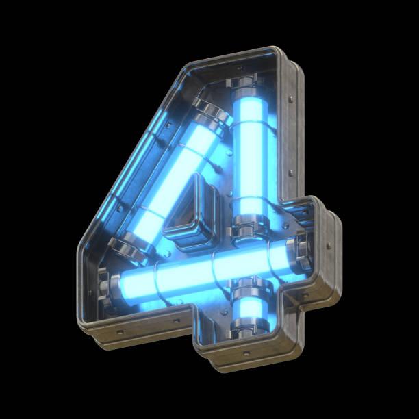 Metallic futuristic font with blue neon lights stock photo