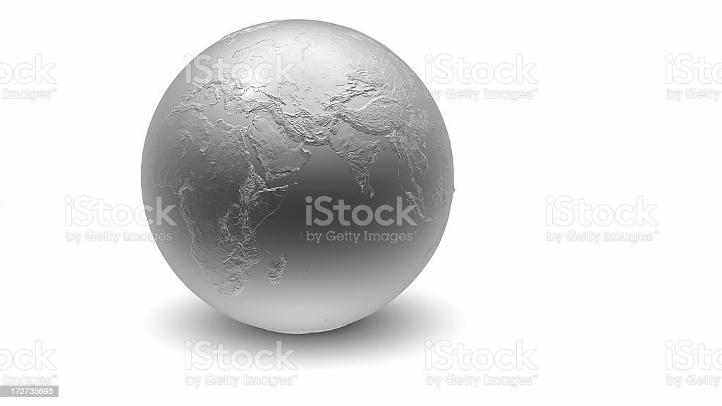 Metallic Globe: Africa, Eurasia royalty-free stock photo