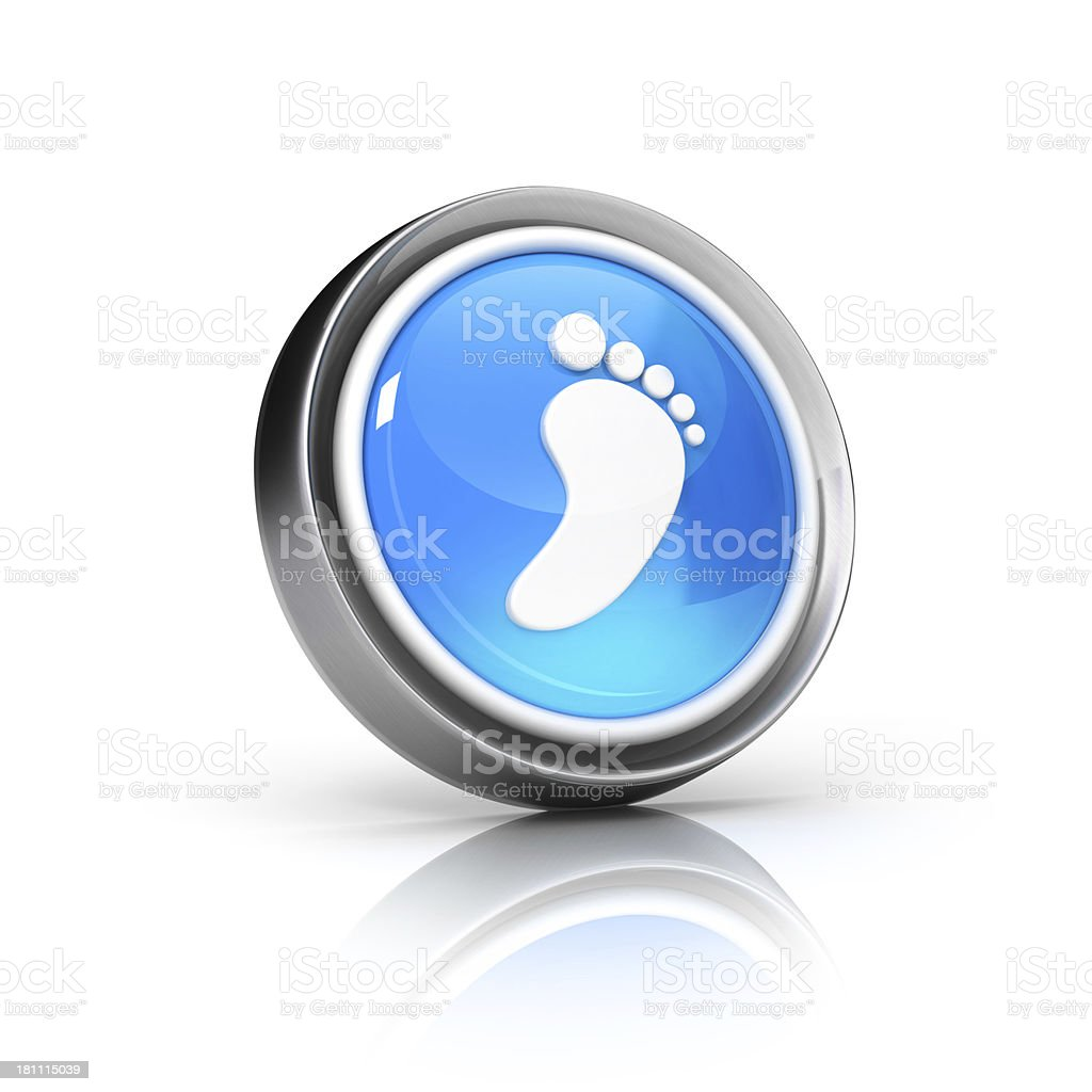 metallic glossy 3d icon of footstep or walkthrough Symbol stock photo