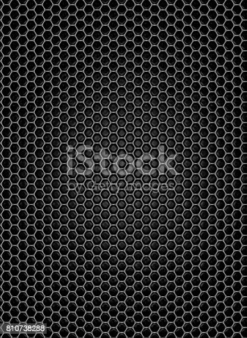 istock Metallic grid on black background and plastic effect. 810738288