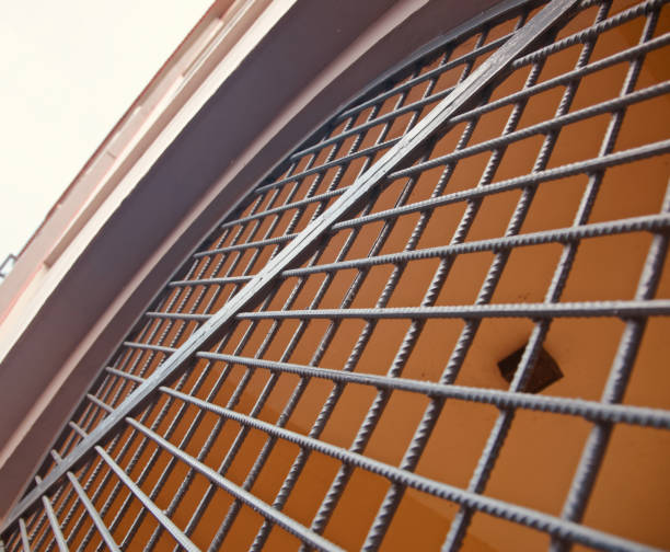 Metallic grill of a window isolated unique photo stock photo