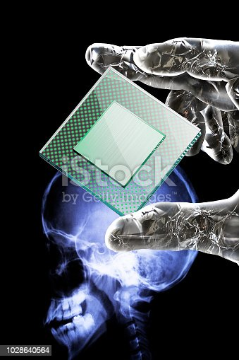 istock Metallic hand of artificial intelligence robot grasping CPU. 1028640564