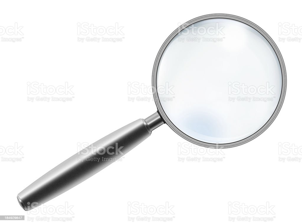 "Metallic Handle Magnifying Glass ""Metallic handle magnifying glass, isolated on white background."" Analyzing Stock Photo"
