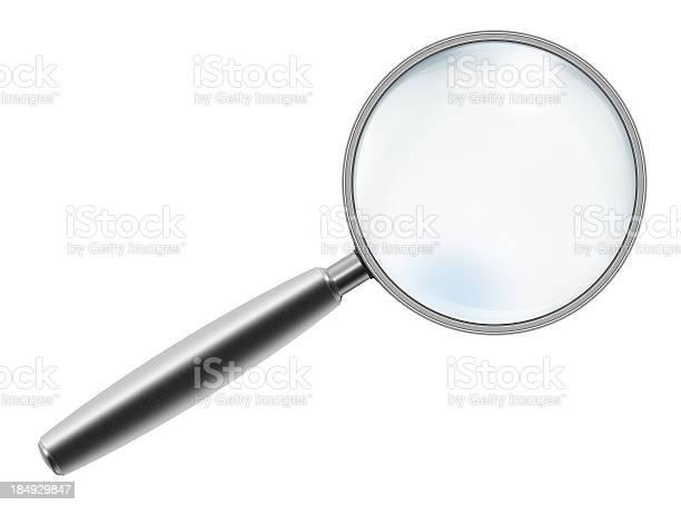 """Metallic Handle Magnifying Glass """"Metallic handle magnifying glass, isolated on white background."""" Analyzing Stock Photo"""