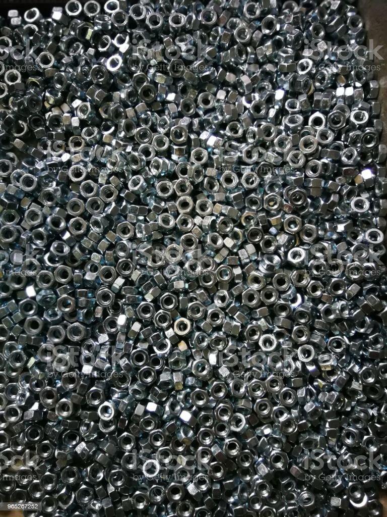 metallic hexagonal nuts royalty-free stock photo