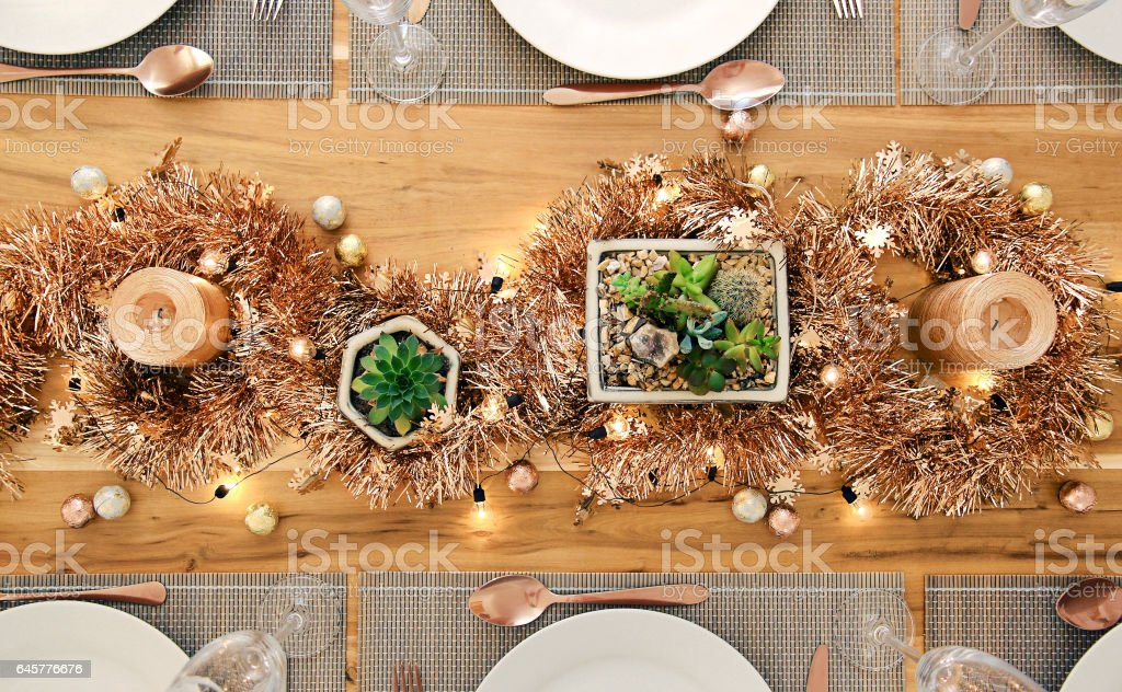 Metallic Holiday Table setting from above royalty-free stock photo & Metallic Holiday Table Setting From Above Stock Photo u0026 More ...