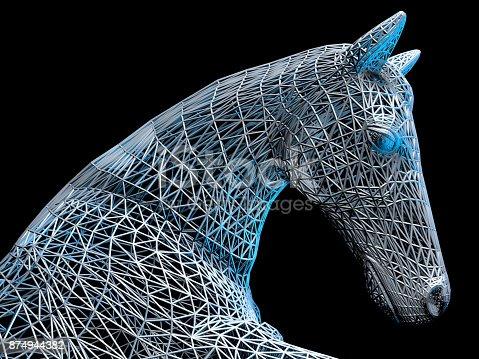 istock Metallic Horse Head 874944382