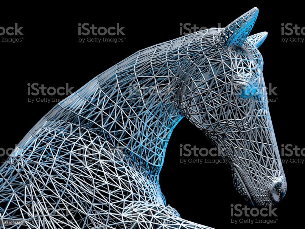Metallic Horse Head stock photo