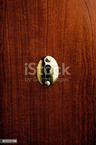 Brass keyhole on a wooden background.