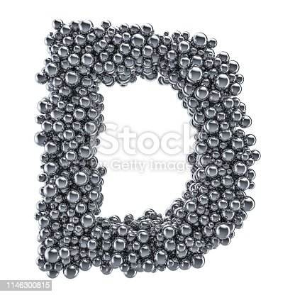 184385936 istock photo Metallic letter D from metal balls, 3D rendering isolated on white background 1146300815