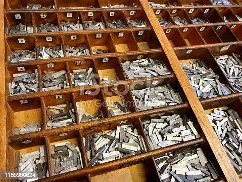 902516954istockphoto Metallic letters for letterpress 1185950624
