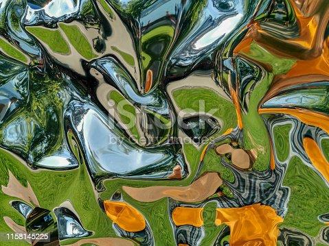 istock Metallic liquid reflection background 1158145225