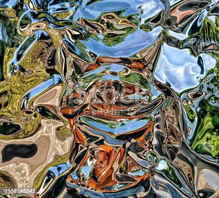 istock Metallic liquid reflection background 1158145343