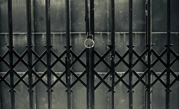 A metallic locked door unique photo stock photo
