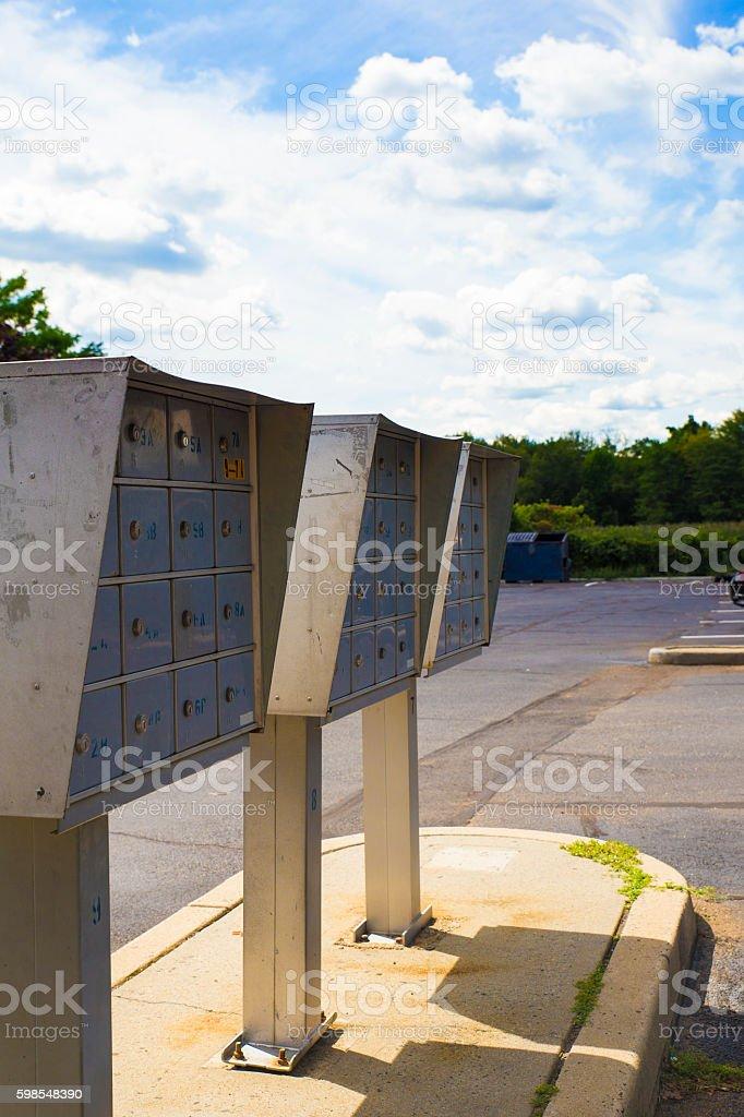 metallic mailboxes post photo libre de droits