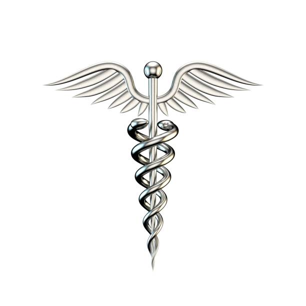 metallic medical symbol. isolated on white background. 3d rendering illustration. - caduceus stock pictures, royalty-free photos & images