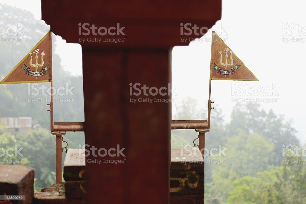 Metallic nepali flags. Kalika Mandir-Gorkha-Nepal. 0410 royalty-free stock photo