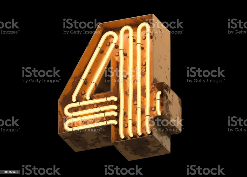 Metallic orange neon font covered with rust. stock photo