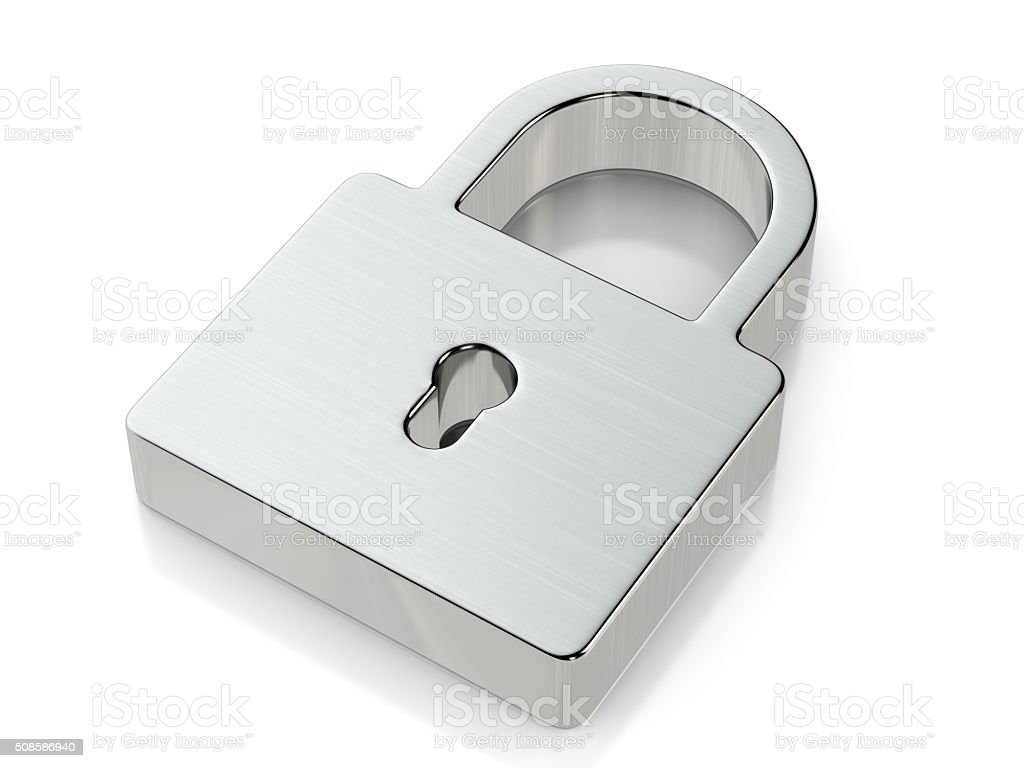 Metallic padlock symbol stock photo