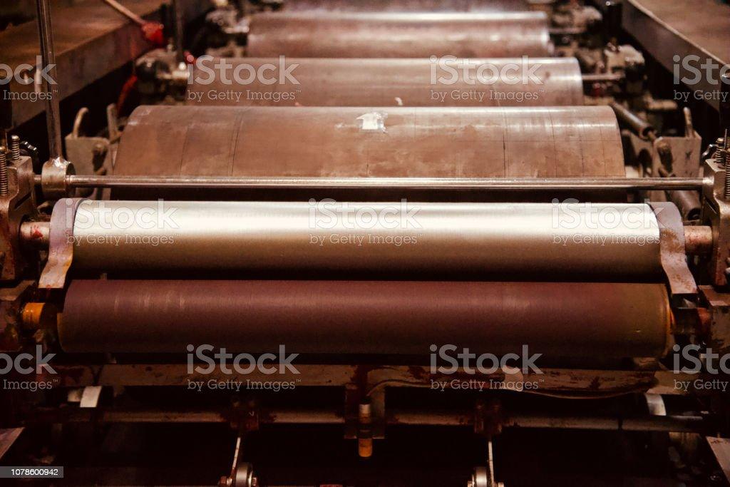 Metallic parts of a printing machine stock photo