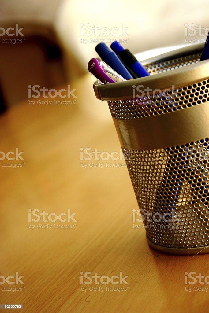 Metallic pencil holder royalty-free stock photo