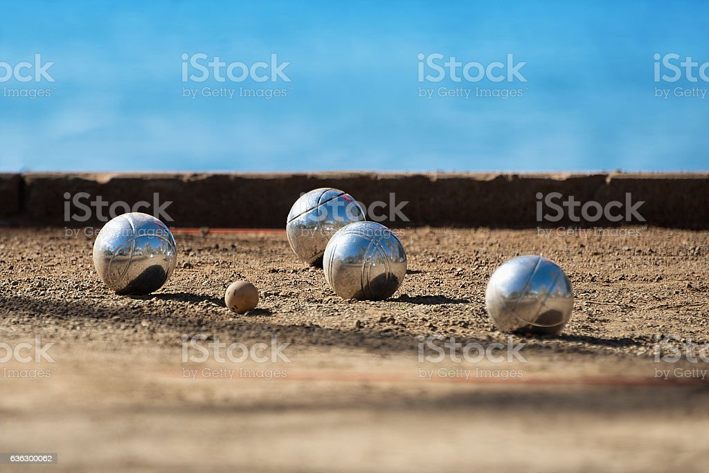 Metallic petanque four balls stock photo